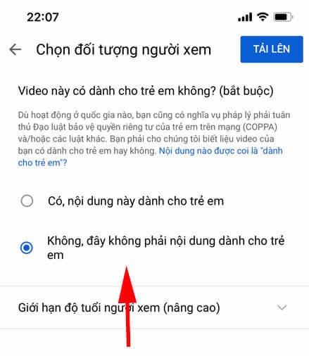 chọn đối tượng người xem video youtube shorts