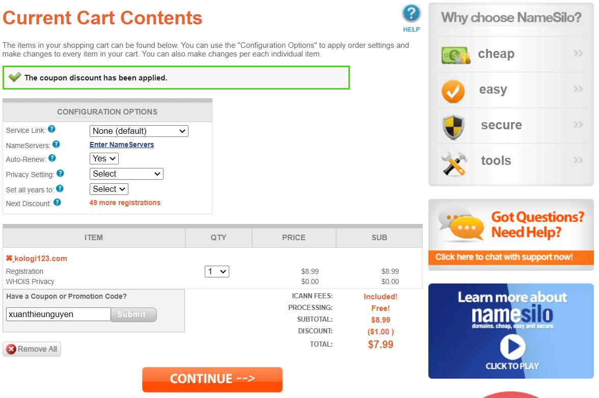 Nhập mã giảm giá xuanthieunguyen để được giảm 1$