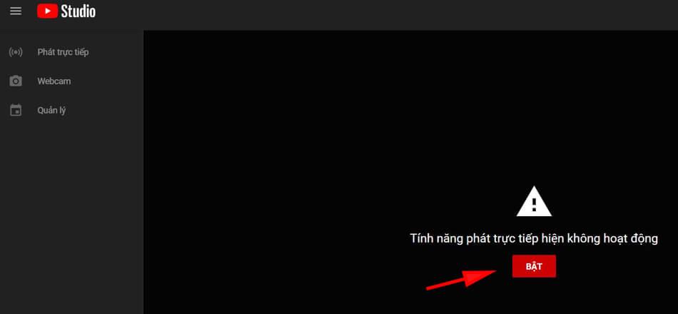 bật tính năng phát trực tiếp trên youtube