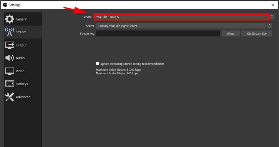chọn luồng live stream trên obs