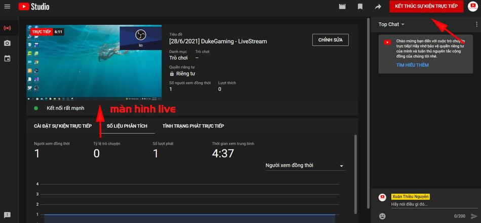 kết quả live stream youtube