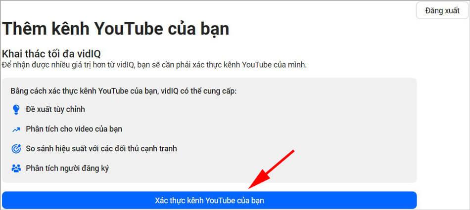seo youtube với phần mềm vidIQ xác thực kênh